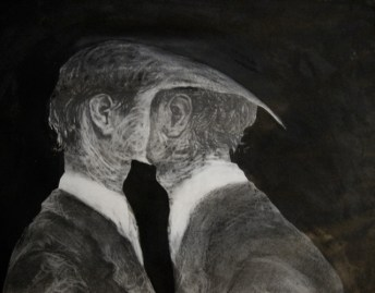Mixed media drawing of businessmen with beaks, eating each other, by Sarah Zar.