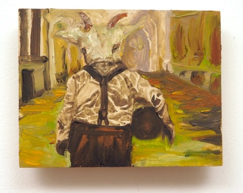 Impressionistic oil painting of a man with a goat's head, wearing suspenders and carrying a bowling ball, with psychedelic colors. Thick paint on wood by artist Sarah Zar.