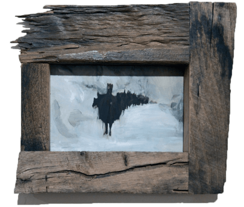 An oil painting of nomads on horseback in the winter, by Sarah Zar. The rustic wood framed painting is predominantly blue and gray, and was shown at Afterhours Gallery in Toronto, Canada.
