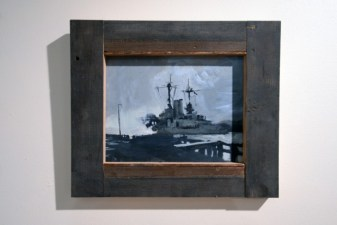 dark oil painting of a ship in a reclaimed wood frame
