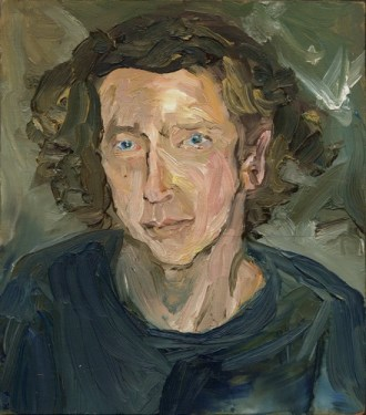 portrait of boy in blue shirt with lots of brushstrokes