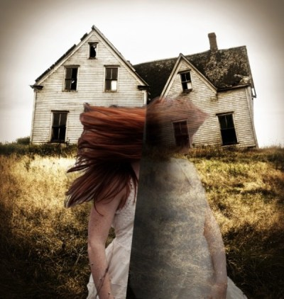Togetherness inhabitation collage by Sarah Zar - split personality sinking feeling collage with house and redheaded woman