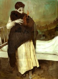 tall boy hugging his mother goodbye near a bed-Fire Paintings