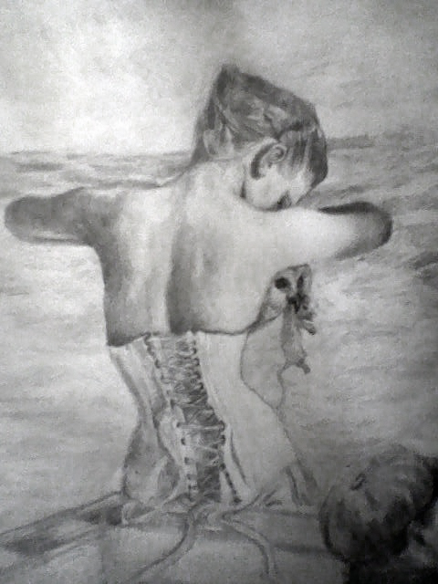 Pencil drawing of a woman with an owl in her bodice, by Sarah Zar.