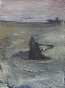 abstract painting of a sinking ship