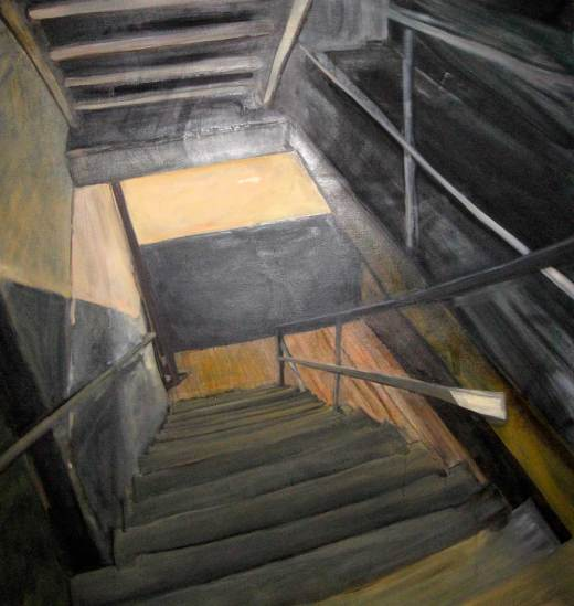 painting of orange and black industrial staircase