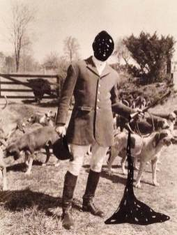 See Spots Run, a collage with a hunter and his dog, and polka dots where spots should never be.