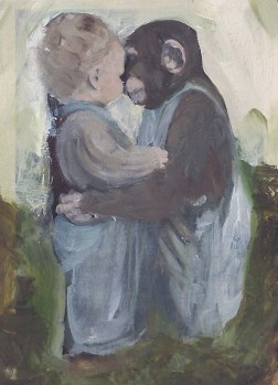 painting of toddler hugging a monkey in suspenders