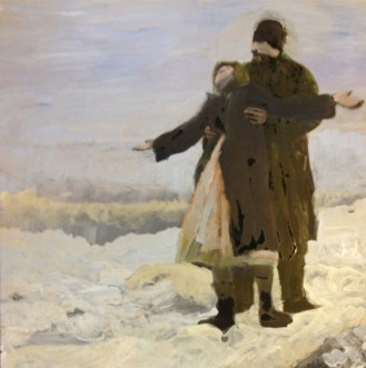 impressionistic winter oil painting of snowy lovers