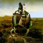 Digital collage of a girl riding a surrealist horse made of houses, by artist Sarah Zar.