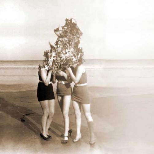 three women in flames telling secrets - vintage style Real Estate Collages - art by Sarah Zar