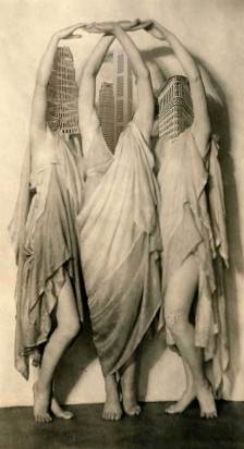 three graceful vintage women dancing with skyscraper heads - Real Estate Collages