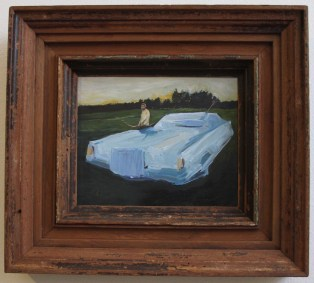 Abstract Hunters - a blue oil painting of a man who trapped a Lincoln Continental with a bow and arrow, by Brooklyn painter Sarah Zar