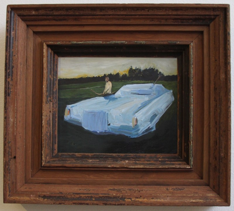 Abstract Hunters - a blue oil painting of a man who trapped a Lincoln Continental with a bow and arrow