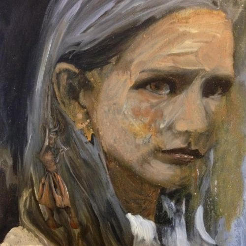 Orange oil painting of a girl with a demon dancing on her shoulder, voodoo style. A portrait by painter Sarah Zar with large brushstrokes.
