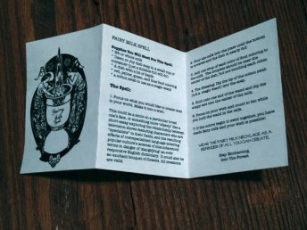 A miniature instruction pamphlet for the Fairy Milk Necklace