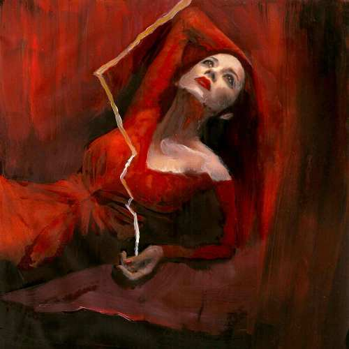 Lady In Red With Lightning