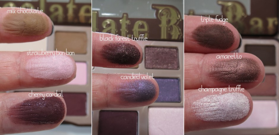 swatches chocolate bar de too faced