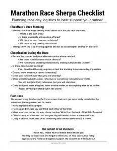 Marathon Spectator Checklist