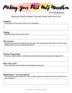 picking first half marathon worksheet