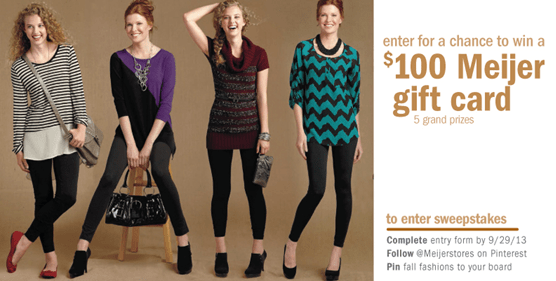 Meijer 2013 Fall Fashion Pinterest Sweepstakes