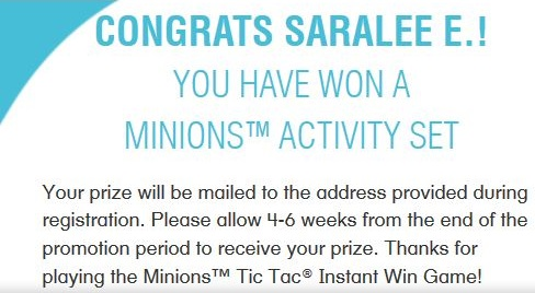 The Minions Tic Tac Instant Win Game 7/31 Daily (2/2)