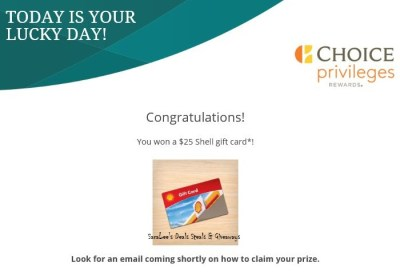 Choice Hotels - CP Mystery Reward Card Instant Win Game