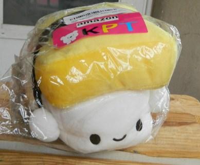 """Sushi Cushion Plush Toy Pillow (Egg 6"""") & Mini Sushi Brothers Figures (Bonus)"""