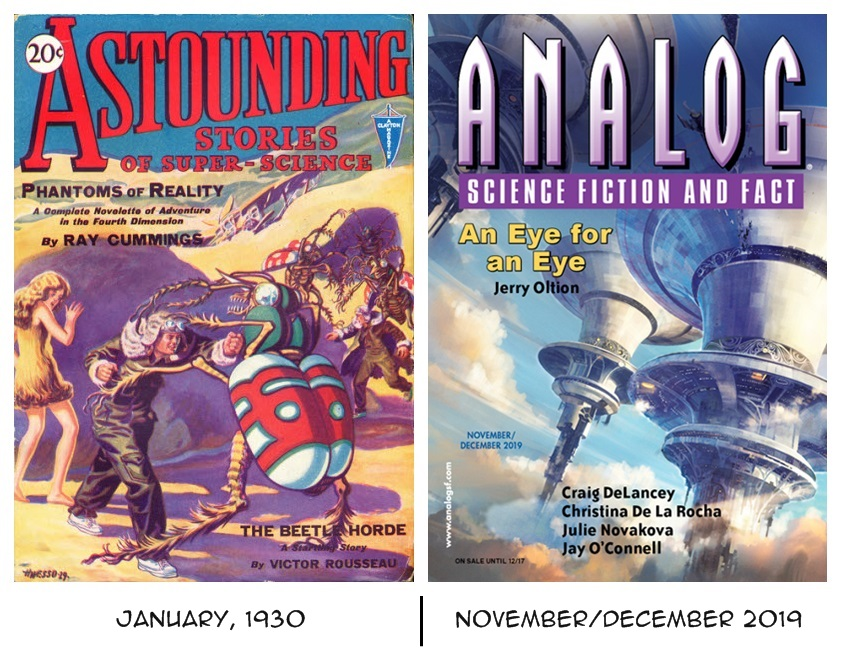 """""""Astounding Stories of Super-Science"""" Jan. 1930 vs. """"Analog: Science Fiction and Fact"""" Nov./Dec. 2019."""