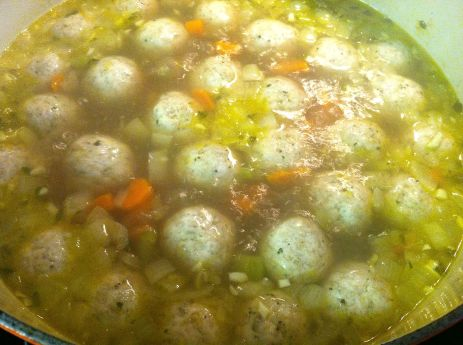 Cooked meatballs will float to the surface.