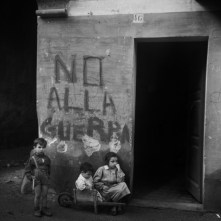 "ITALY. Genua. 1946. Writing on the wall: ""No alla guerra"" (""No to war""). Italy was heavily affected by the Second World War: cities and infrastructure were largely reduced to rubble, and large portions of the population suffered from hunger and the loss of their homes."