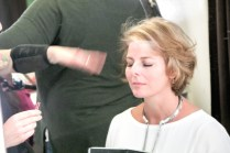 In hair and make-up before the show.