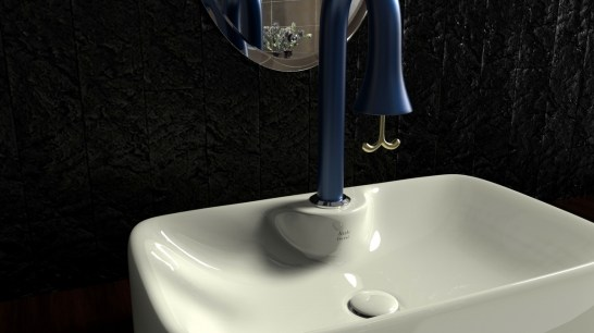 A close-up of the faucet.