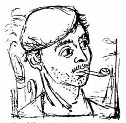 """Χαρακτικό της Βάσως (μάλλον Κατράκη) που κοσμούσε το διήγημα """"Το φωτεινό τέλος..."""" του Βασίλη Λούλη στο περιοδικό Ελεύθερα Γράμματα"""