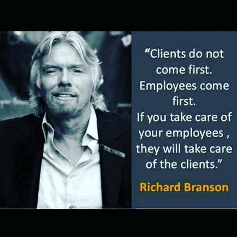 Richard Branson says Employees Come First - Wordpress Websites and Training by Sara Ohara