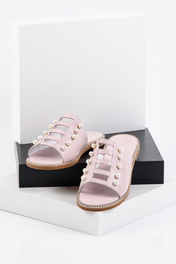 Кожени дамски чехли в розов цвят-141921