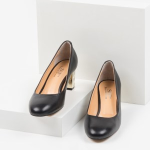 Кожени дамски обувки в черен цвят-230116
