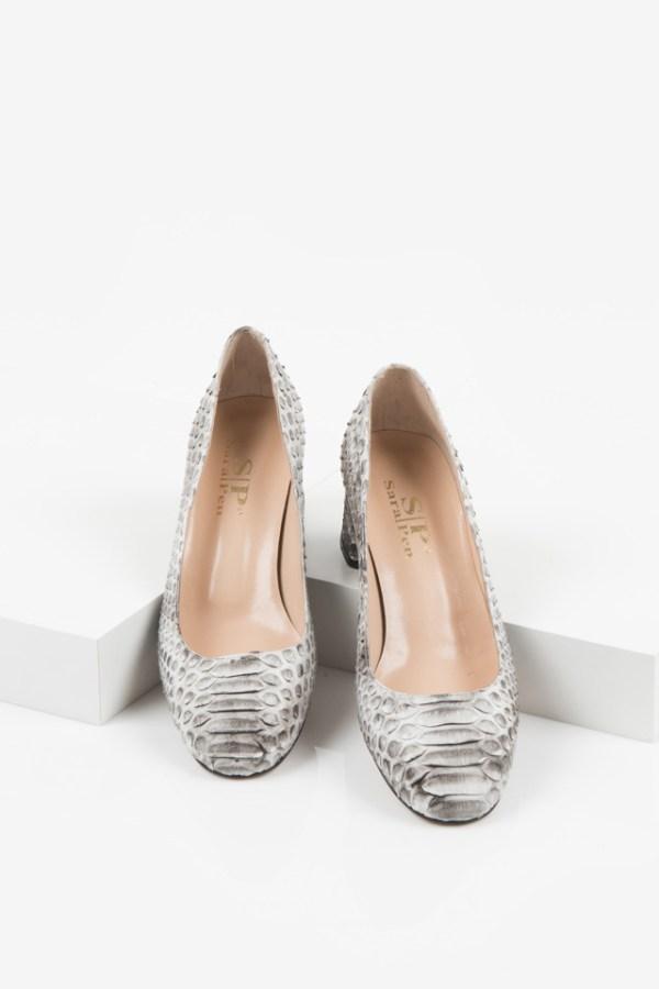 Змийски дамски обувки в бежов цвят-230267