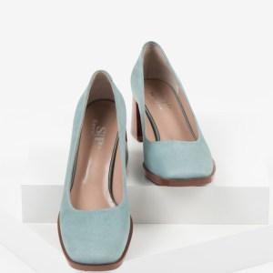 Велурени дамски обувки в зелен цвят-160563