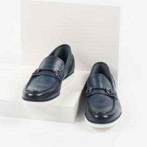 Кожени мъжки обувки в син цвят-281508
