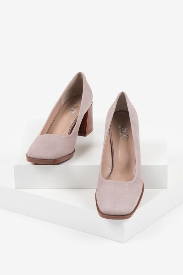 Велурени дамски обувки в розов цвят-160563