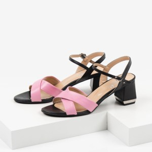 Кожени дамски сандали в черен и розов цвят-482802