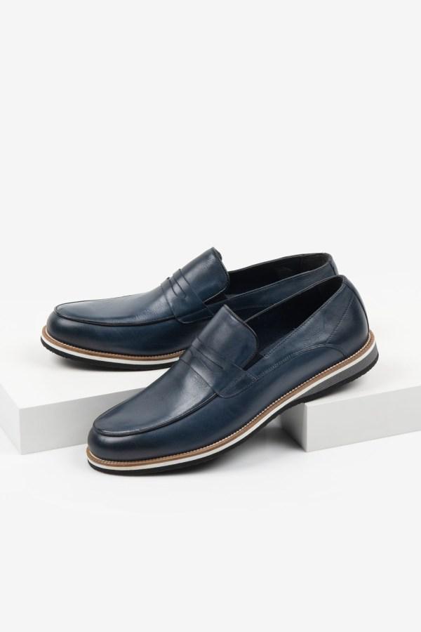 Кожени мъжки обувки в син цвят-2819424