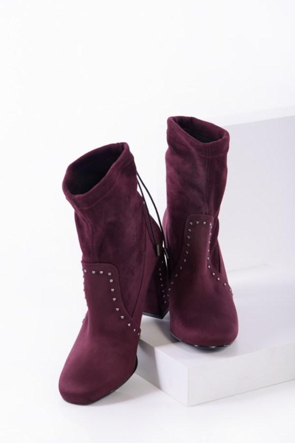 Елегантни дамски боти в бордо цвят-350409