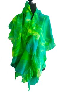 Green silk nuno wrap