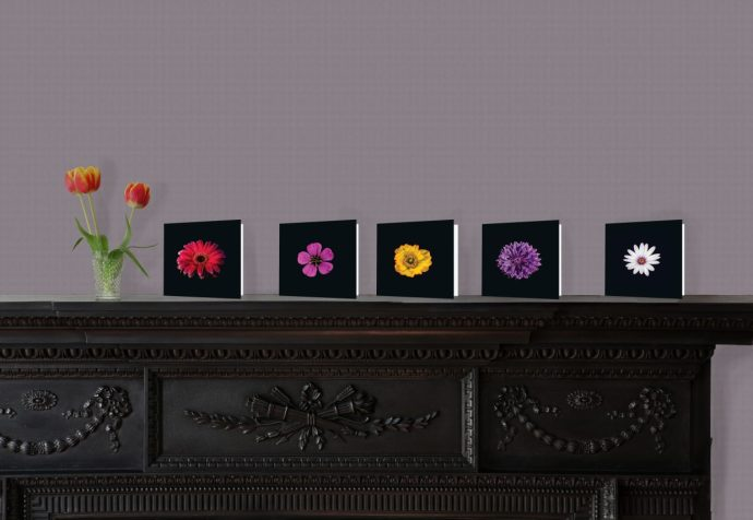 Floral cards on display on a fireplace.