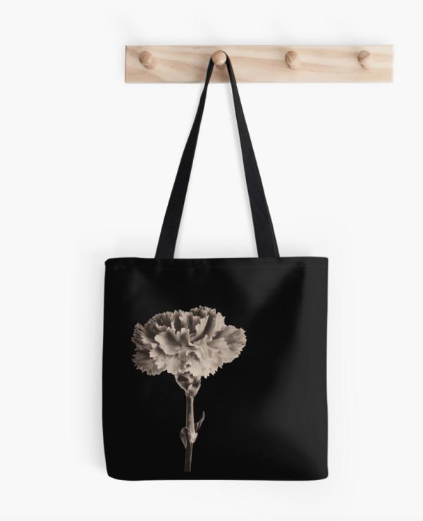 sepia carnation tote bag