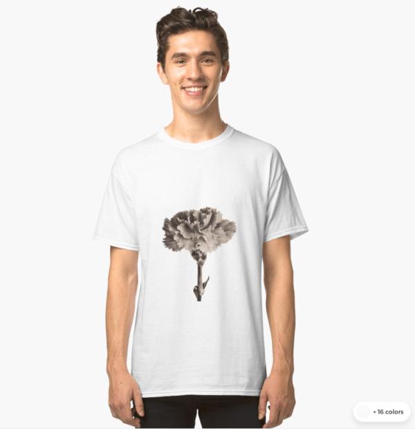 sepia carnation t-shirts