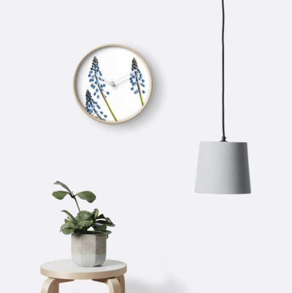 Grape Hyacinth Flower Wall Clock