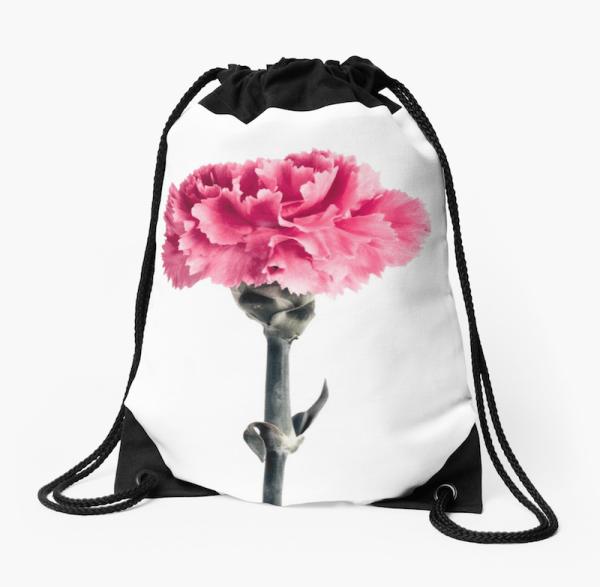 Carnation Flower Drawstring Bag